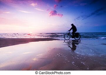 здоровый, стиль жизни, пляж, в, закат солнца