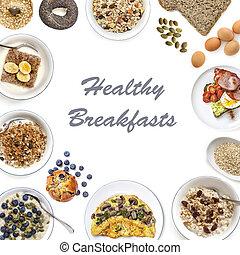 здоровый, breakfasts, коллаж
