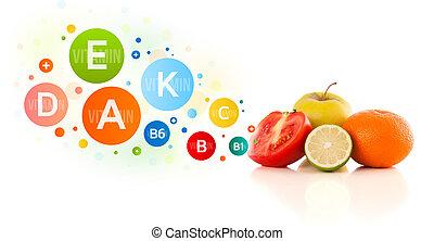 здоровый, fruits, with, красочный, витамин, symbols, and, icons