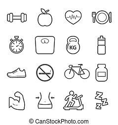 здоровье, and, фитнес, значок