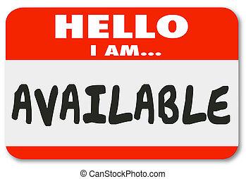 здравствуйте, я, ам, доступный, имя, тег, наклейка,...