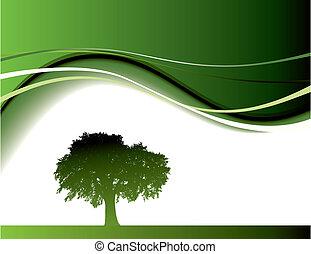 зеленый, дерево, задний план