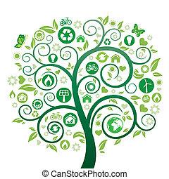 зеленый, дерево