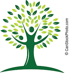 зеленый, дерево, логотип