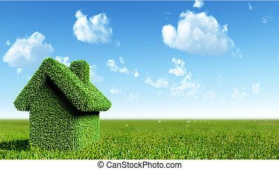 зеленый, дом