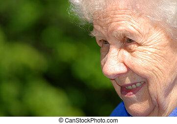 зеленый, женщина, старый, задний план, портрет