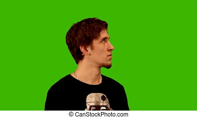 зеленый, задний план, человек