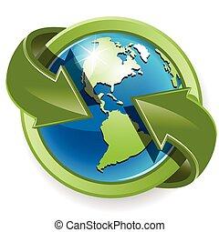 зеленый, земной шар, arrows