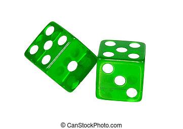 зеленый, игральная кость, -, вырезка, дорожка