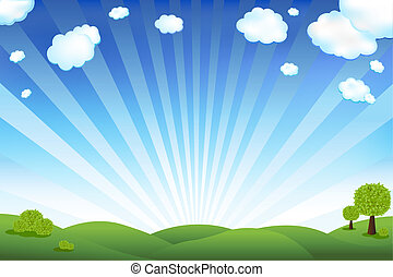 зеленый, поле, and, синий, небо