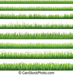 зеленый, трава, граница