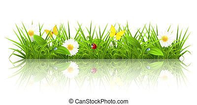 зеленый, трава, 10eps