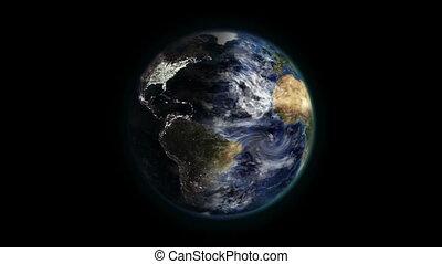 земля, перемещение, shaded, clouds