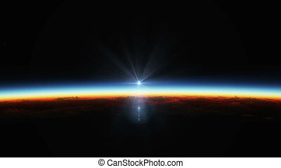 земля, планета, поднимающийся, солнце, над