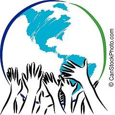 земля, принятие, illustratio, забота, руки