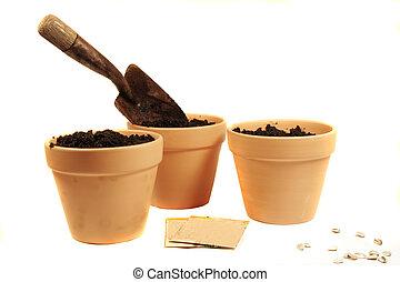 земля, cotta, pots