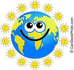 земной шар, солнечно
