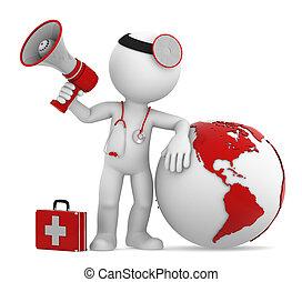 земной шар, americas, боковая сторона, megaphone., врач