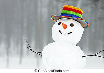 зима, веселая, снеговик