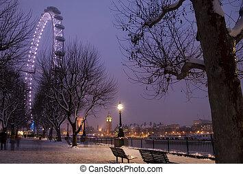 зима, в, london.