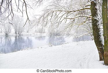 зима, река