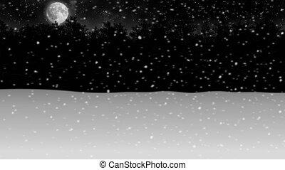 зима, снег, анимация, через, лес, ночь, перемещение