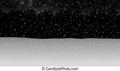 зима, снег, через, лес, animation2, ночь, перемещение