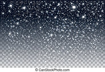 зима, снег, isolated, задний план, falling, прозрачный
