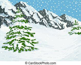 зима, mountains