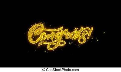 золотой, поздравляю, искры, фейерверк, типография, частицы,...
