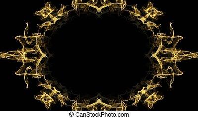 золотой, праздничный, украшение, рамка, овальный, задний план, черный, copy-space, borders, анимационный, фрактальный, дизайн