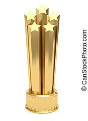 золотой, приз, isolated, число звезд:, пьедестал, белый