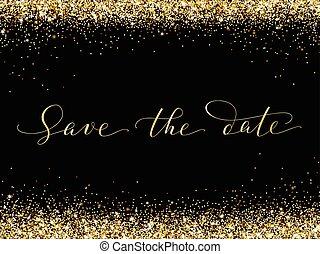 золотой, спасти, дата, frame., сверкающий, конфетти, вектор,...