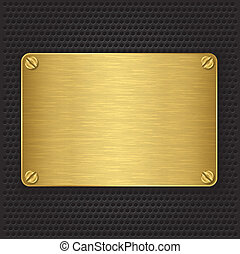 золотой, текстура, пластина, with, screws, v