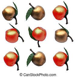 золотой, apples, в виде, шаблон, of, тик, tac, палец