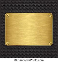 золотой, v, screws, текстура, пластина