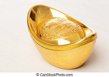 золото, болванка, в, белый, задний план