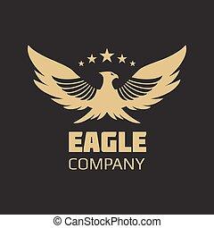 золото, геральдический, орел, логотип, дизайн