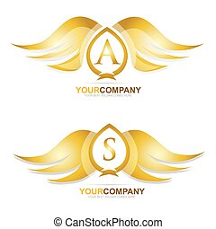 золото, золотой, wings, логотип, значок, задавать