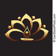 золото, лотос, and, люди, команда, медитация, значок, вектор, логотип, дизайн