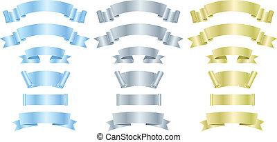 золото, металл, banners, серебряный, ribbons, или