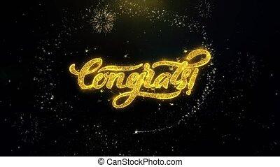 золото, поздравляю, фейерверк, частицы, написано, exploding,...
