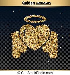 золото, сверкание, вектор, значок