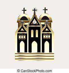золото, церковь, значок, логотип