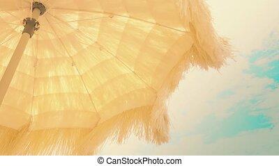 зонтик, бахрома, небо, желтый, waving, против, пляж