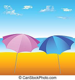 зонтик, пляж, два