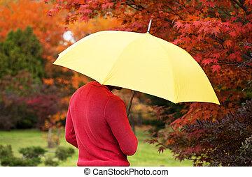 зонтик, человек