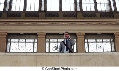 зрелый, бизнесмен, with, смартфон, на, поезд, station.