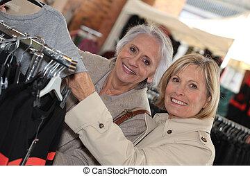 зрелый, женщины, shopping.
