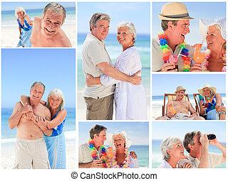 зрелый, пара, коллаж, пляж